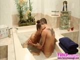 Sexy and brunette masseuses Adria Fox gets hammered hard by Axel