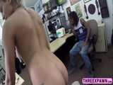Black babe suck cock in front of his BF