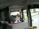 Redhead woman banged in the taxi