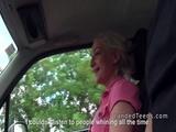 Blonde teen hitchhiker bangs in car