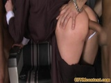 CFNM stewardesses assfucked before facials