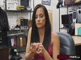 Brunette teen Alexis Deen fucks a horny pawnman on the desk