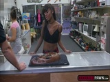 Ebony Lexxi Deep takes a pawnmans cock in her mouth