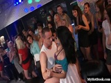dozens of gorgeous  cocksluts crowd next to the runway as the party