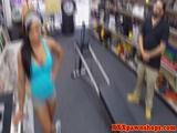 Ebony pawnshop amateur working out