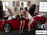 Lesbian mechanic fucks hot pornstar