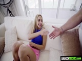 A huge hard dick pounded Khloes tight pussy on a couch