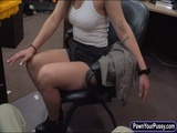 Sexy babe sells her watches and pounded