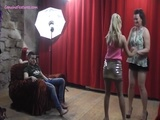 Bubbly MILF dances with assistants