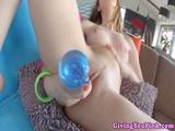 Judy shoving objects inside pussy