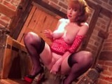 MILF Red plows her pussy with Valentines Day toy