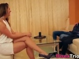 Gorgeous brunet swaps cum with bi stud after getting cum in her mouth