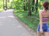 Redhead cutie caught at public park. Luckily she's into kinky stuff! (PISS)