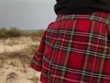 Cum in Panties sex on the beach with schoolgirl