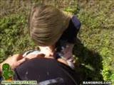 Cute blonde sucking a fat cock in public