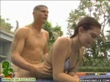 Naughty teen Brandie gets her pussy railed at the pool