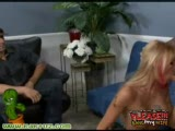 Sexy blonde chick gets fucked in front of her husband